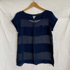 Anthropologie Odille Navy Blue Striped Blouse Top